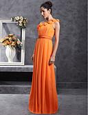 64bf8e1b8 رخيصةأون فساتين الاشبينات-عامودي كتف واحد طول الأرض شيفون فستان الاشبينة مع  ثنيات / زهور