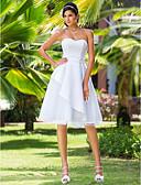 Χαμηλού Κόστους Νυφικά-Γραμμή Α / Πριγκίπισσα Καρδιά Μέχρι το γόνατο Σατέν / Τούλι Φορέματα γάμου φτιαγμένα στο μέτρο με Ζώνη / Κορδέλα με LAN TING BRIDE®