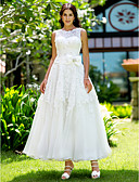 cheap Wedding Dresses-A-Line Bateau Neck Ankle Length Lace Made-To-Measure Wedding Dresses with Appliques by LAN TING BRIDE® / Little White Dress