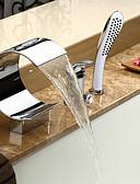 hesapli Kadın Kazakları-Küvet Muslukları - Çağdaş Krom Roma Küveti Seramik Vana Bath Shower Mixer Taps / Tek Kolu Üç Delik
