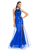 cheap Women's Dresses-Sheath / Column Jewel Neck Floor Length Tulle / Sequined Sparkle & Shine Prom / Formal Evening Dress with Sash / Ribbon / Split Front by TS Couture®