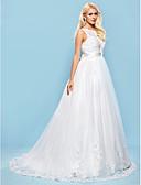 olcso Menyasszonyi ruhák-Báli ruha Nyakkivágás Udvari uszály Tüll / Virágos csipke Made-to-measure esküvői ruhák val vel Gyöngydíszítés / Rátétek / Pántlika / szalag által LAN TING BRIDE® / Open Back