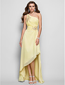 cheap Bridesmaid Dresses-Sheath / Column One Shoulder Asymmetrical Chiffon High Low Formal Evening Dress with Beading / Ruched by TS Couture®
