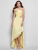 abordables Vestidos de Dama de Honor-Funda / Columna Un Hombro Asimétrica Raso Largura Asimétrica Evento Formal Vestido con Cuentas / Fruncido por TS Couture®