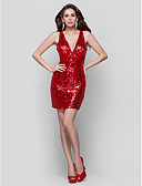 cheap Cocktail Dresses-Sheath / Column Plunging Neck Short / Mini Sequined Sparkle & Shine Cocktail Party Dress with Sequin / Pleats by TS Couture®