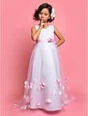 cheap Prom Dresses-A-Line Sweep / Brush Train Flower Girl Dress - Satin / Tulle Sleeveless V Neck with Bow(s) by LAN TING BRIDE®