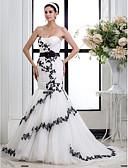 olcso Menyasszonyi ruhák-Sellő fazon Szív-alakú Udvari uszály Tüll / Virágos csipke Made-to-measure esküvői ruhák val vel Rátétek / Pántlika / szalag / Ráncolt által LAN TING BRIDE® / Színes menyasszonyi ruhák