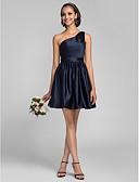 tanie Suknie balowe-Krój A / Księżniczka Na jedno ramię Krótka / Mini Satyna Sukienka dla druhny z Drapowania boczna przez LAN TING BRIDE®