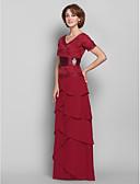 olcso Menyasszonyi ruhák-Szűk szabású V-alakú Földig érő Sifon / Csipke Örömanya ruha val vel Csipke által LAN TING BRIDE®