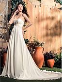 abordables Vestidos de Novia-Corte en A Escote Corazón Corte Raso Vestidos de novia hechos a medida con Cuentas / Apliques / Fruncido por LAN TING BRIDE®