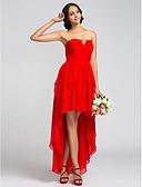 Χαμηλού Κόστους Φορέματα Παρανύμφων-Γραμμή Α Στράπλες Ασύμμετρο Σιφόν Φόρεμα Παρανύμφων με Με διαδοχικές σούρες / Πιασίματα με LAN TING BRIDE®