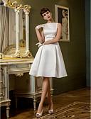 זול שמלות כלה-גזרת A בטו צוואר באורך  הברך סאטן שמלות חתונה עם פפיון / סרט / כפתור על ידי LAN TING BRIDE® / שמלות לבנות קטנות
