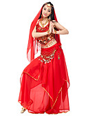 cheap Women's Dresses-Belly Dance Outfits Women's Performance Chiffon Beading / Draping / Coin Natural Top / Skirt / Headwear