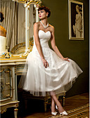 cheap Wedding Dresses-A-Line Sweetheart Neckline Tea Length Tulle Made-To-Measure Wedding Dresses with Criss-Cross by LAN TING BRIDE®