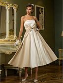 baratos Vestidos de Casamento-Linha A / Princesa Decote Princesa Longuette Cetim Vestidos de casamento feitos à medida com Laço de LAN TING BRIDE®
