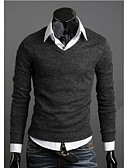 cheap Men's Sweaters & Cardigans-Men's Daily / Weekend Casual Solid Colored Long Sleeve Slim Regular Pullover, V Neck Fall / Winter Yellow / Coffee / Wine L / XL / XXL
