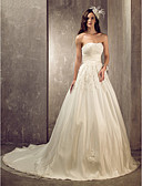 cheap Wedding Dresses-A-Line / Princess Sweetheart Neckline Court Train Satin / Tulle Made-To-Measure Wedding Dresses with Beading / Appliques / Sash / Ribbon by LAN TING BRIDE®