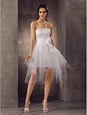 Χαμηλού Κόστους Νυφικά-Ίσια Γραμμή Στράπλες Κοντό / Μίνι Τούλι Φορέματα γάμου φτιαγμένα στο μέτρο με Ζώνη / Κορδέλα / Πιασίματα / Λουλούδι με LAN TING BRIDE®