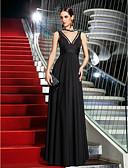 hesapli Balo Elbiseleri-A-Şekilli Boyun eğme çizgisi Yere Kadar Jarse Fiyonk / Yan Drape ile Balo / Resmi Akşam Elbise tarafından TS Couture® / Ünlü Stili / Eski Tiplerden Esinlenilmiş