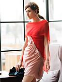 preiswerte Abendkleider-Damen Ausgehen Etuikleid Kleid - Gefaltet, Einfarbig Knielang Bateau Hohe Hüfthöhe