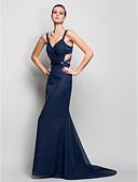 זול שמלות נשף-בתולת ים \ חצוצרה רצועות שובל סוויפ \ בראש שיפון גב יפהפייה ערב רישמי שמלה עם בד נשפך בצד על ידי TS Couture®