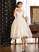 cheap Wedding Dresses-A-Line V Neck Tea Length Taffeta Made-To-Measure Wedding Dresses with Lace / Criss Cross by LAN TING BRIDE® / Little White Dress / Little White Dress