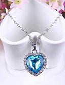 hesapli Deri-Kadın's Sentetik safir Uçlu Kolyeler Avusturya Kristali Kalp Aşk Bayan Moda Mavi Kolyeler Mücevher Uyumluluk Düğün Parti Özel Anlar Yıldönümü Hediye Günlük
