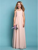 cheap Junior Bridesmaid Dresses-Sheath / Column Halter Neck Floor Length Chiffon Junior Bridesmaid Dress with Ruched by LAN TING BRIDE® / Spring / Summer / Fall / Apple / Hourglass
