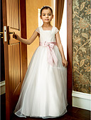 cheap Wedding Veils-A-Line Ankle Length Flower Girl Dress - Organza Short Sleeve Square Neck with Bow(s) / Lace / Sash / Ribbon by LAN TING BRIDE® / Spring / Summer / Fall / Formal Evening / Wedding Party
