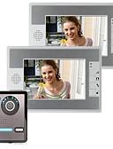 hesapli Lüks Saatler-7 inç video kapı telefonu kapı zili dahili telefon kiti 1 kamera 2 monitör gece görüşü