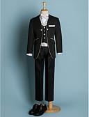 hesapli Yüzük Taşıyıcısı Takımları-Fildişi / Siyah Polyester Yüzük Taşıyıcısı Takımı - 6 Parça Kapsar Ceket / Bel Kuşağı / Yelek