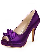 abordables Tacones de Mujer-Mujer Zapatos Satén Primavera Verano Tacón Stiletto Plataforma Flor de Satén para Boda Plata Azul Oro Amarillo Morado