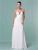 cheap Wedding Dresses-Sheath / Column Plunging Neck Floor Length Chiffon Made-To-Measure Wedding Dresses with Draping by LAN TING BRIDE® / Open Back