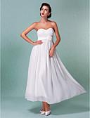 billiga Brudklänningar-Åtsmitande Hjärtformad urringning Ankellång Chiffong Bröllopsklänningar tillverkade med Bälte / band / Blomma / Korsvis av LAN TING BRIDE®