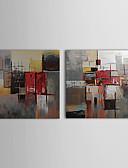 olcso Kvarc-Hang festett olajfestmény Kézzel festett - Absztrakt Kortárs Tartalmazza belső keret / Vászon / Nyújtott vászon