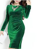 abordables Vestidos de Mujeres-Mujer Sofisticado Pantalones - Un Color Frunce Verde