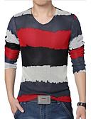 זול חולצות לגברים-קולור בלוק צווארון V ספורט מידות גדולות טישרט - בגדי ריקוד גברים דפוס / שרוול ארוך
