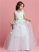 hesapli Çiçekçi Kız Elbiseleri-A-Şekilli / Prenses Taşlı Yaka Süpürge / Fırça Kuyruk Saten / Tül Boncuklama / Çiçekli ile Çiçekçi Kız Elbisesi tarafından LAN TING BRIDE® / Bahar / Yaz / Sonbahar