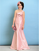 hesapli Çocuk Nedime Elbiseleri-A-Şekilli Tek Omuz Yere Kadar Tafta Fiyonk ile Çocuk Nedime Elbisesi tarafından LAN TING BRIDE® / Doğal
