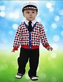 hesapli Erkek Çocuk Kıyafet Setleri-Toddler Genç Erkek Kareli Uzun Kollu Normal Normal Kıyafet Seti Kırmzı