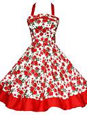 billige Kjoler-Dame Store størrelser Vintage Bomull A-linje Kjole - Fargeblokk, Åpen rygg / Trykt mønster Grime Knelang