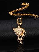 olcso Kabát & Viharkabát-Női Szintetikus gyémánt - Strassz Róka, Állat Vintage, Party, Munkahelyi Bájos Arany, Ezüst Nyakláncok Ékszerek Kompatibilitás Különleges alkalom, Születésnap, Ajándék