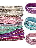 cheap Women's Swimwear & Bikinis-Women's Crystal Layered Wrap Bracelet - Crystal, Leather Unique Design, Basic, Fashion Bracelet Pink / Light Blue / Light Green For Christmas Gifts / Party / Daily