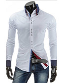 cheap Print Dresses-Men's Cotton Slim Shirt - Solid Colored Basic Button Down Collar / Long Sleeve