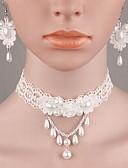 abordables Cinturones a la Moda-Mujer Perla Conjunto de joyas - Perla, Perla Artificial, Tela de Encaje Moda Incluir Blanco Para Boda / Casual / Resina / Pendientes / Collare