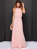 cheap Sport Watches-Women's Beach Sophisticated Swing Dress - Solid Colored Pleated Maxi Halter Neck / Summer / Loose