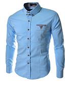 billige Herreskjorter-Bomull Kneppet krage Skjorte Herre - Ensfarget / Langermet