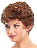 halpa Iltapuvut-Synteettiset peruukit Kihara Lyhyt Bob Synteettiset hiukset Luonnollinen hiusviiva Ruskea Peruukki Naisten Lyhyt Suojuksettomat