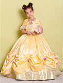 cheap Flower Girl Dresses-Ball Gown Floor Length Flower Girl Dress - Taffeta Sleeveless Off Shoulder with Bow(s) / Flower by LAN TING BRIDE®