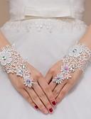 baratos Vestidos de Casamento-Renda Até o Pulso Luva Luvas de Noiva / Luvas de Festa / Luvas Para Daminhas de Honra Com Pedrarias